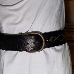 Fossil Black Western Studded Belt Medium